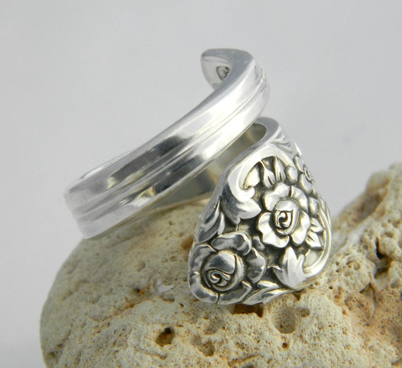 Silver Spoon Ring - Antique Silverware Jewelry, Plantation 1948