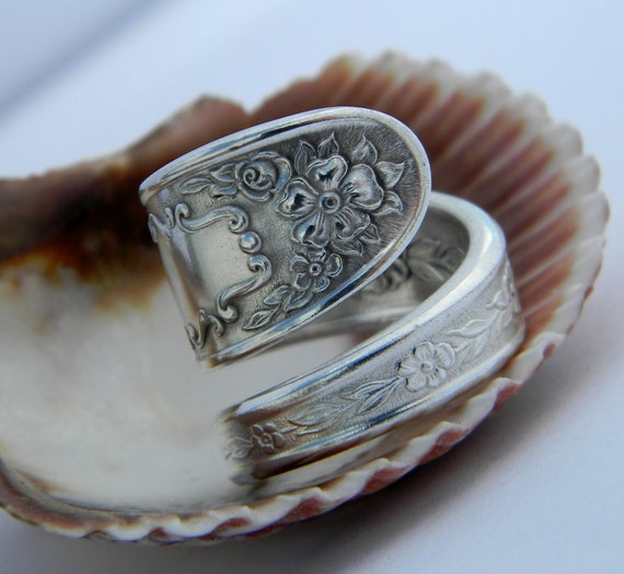 1936 silver spoon ring mildred antique silverware jewelry