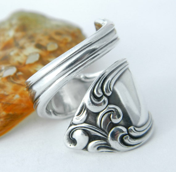 Antique Silver Spoon Ring, Silverware Jewelry, Old South 1949 -Gift