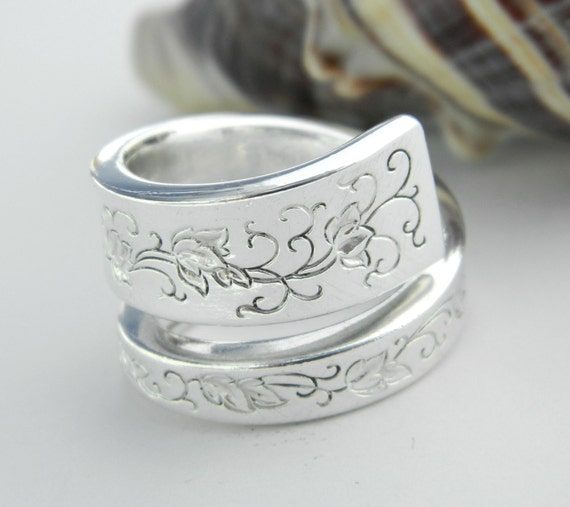 Antique Silver Spoon Ring, Silverware Jewelry, Silver Lace 1968
