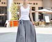 Light Gray Casual Linen Wide Legs Long Pants - NC043