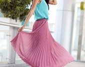 Fairy Retro Purple Red Chiffon Big Sweep Long Pleated Skirt Maxi Skirt Summer Skirt - NC167 - Sophiaclothing