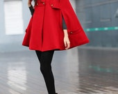 RED Cape Coat Double Breasted Cape Hooded Wool Winter Cape Coat Hood Wool Cloak Hoodie Cashmere Cape Jacket for Women - NC227