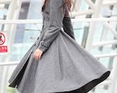 Dark Grey Coat Big Sweep Women Wool Winter Coat Long Jacket Tunic / Fast Shipping - NC222