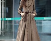 Camel Coat Long Sleeve Wool Jacket Big Sweep Maxi Wool Winter Coat Long Dress Coat for Women /Fast Shipping- NC202