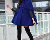 Royal Blue Hoodie Cashmere Coat Double Breasted Hooded Wool Winter Cape Coat Wool Winter Jacket for Women - NC227