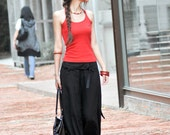 Graceful Casual Black Wide leg Long Linen Pants - NC004