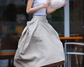 Lagenlook Maxi Skirt Big Pockets Big Sweep Long Skirt in Cream-colored Summer Linen Skirt - NC144