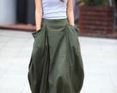 Lagenlook Maxi Skirt Big Pockets Big Sweep Long Skirt in Army Green Summer Linen Skirt - NC144