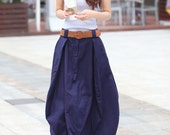 Romantic Navy Blue Pretty Linen Bud Long Maxi Skirt - NC023