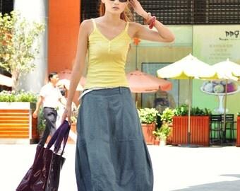 On Sale Size XL Bud Linen Skirt in Dark Orange - NC046-3