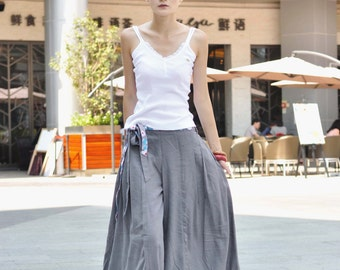 Light Gray Casual Linen Wide Legs Long Pants Skirt - NC043