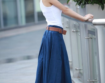 Fairy Linen Pleat Long Maxi Skirt in Navy blue- NC109