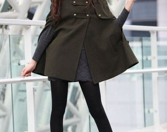 Army Green Cape Double Breasted Button Hooded Cashmere Cape Women Coat Hoodie Wool Winter Cape Coat for Women - NC227