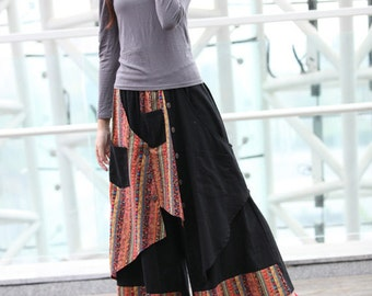 Black Indian Ethnic Linen Patchwork Wide Leg Pants skirt - NC234