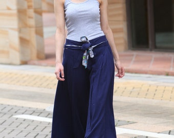 Wide Leg Pants in Navy Blue Boho Skirt Pants - NC043