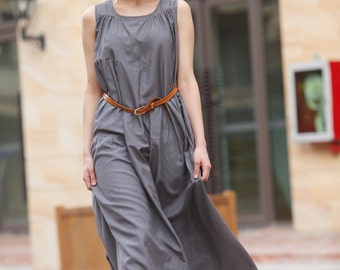 ON SALE Size M Maxi dress in Gray Sleeveless Cotton Long Dress Summer Sundress in Grey - NC314