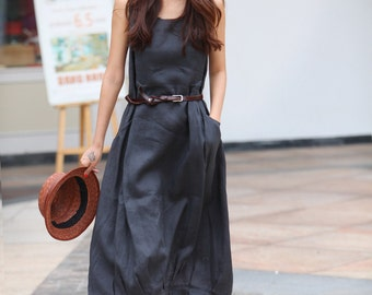 Summer dress  Loose fitting Long Sundress Maxi Dress in Dark Grey - NC306