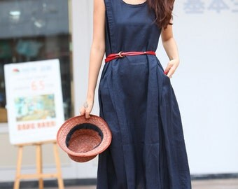 On Sale Size L Summer dress  Loose fitting Long Sundress Maxi Dress in Black-NC306-9