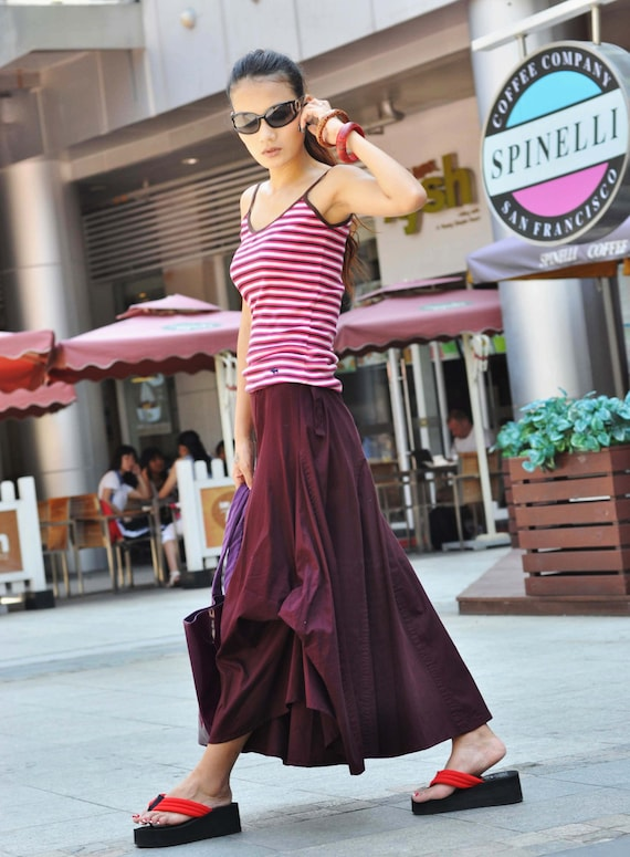 ON SALE 67% OFF Exquisite Deep Red Long Maxi Skirt - NC066