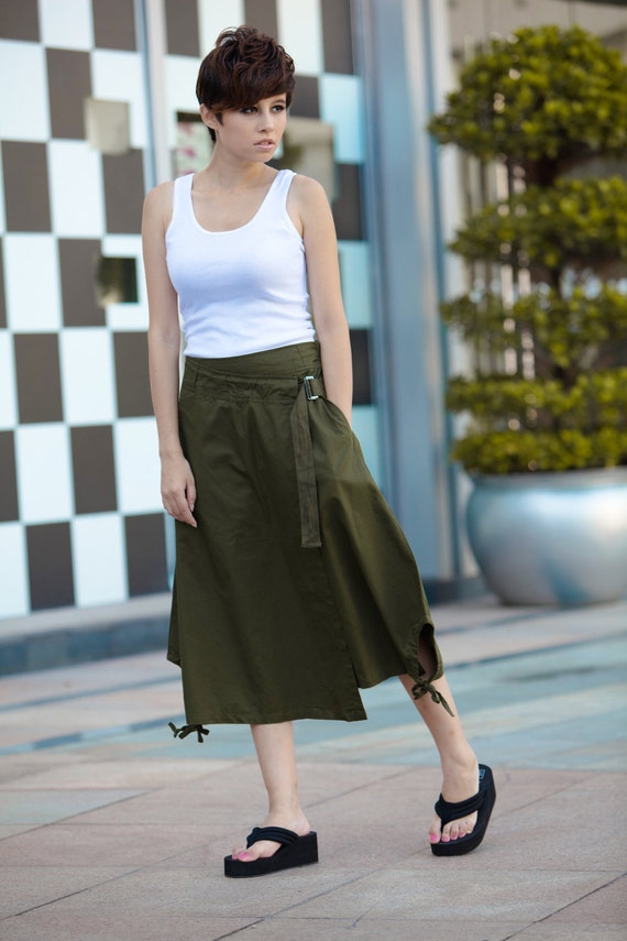 Army Green Skirt Pants Wide Leg Pants Double-deck Slant Front Pant Skirt - NC076