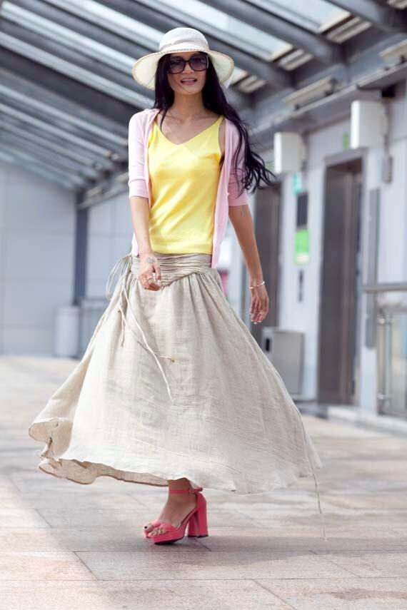 Summer Maxi skirt Linen Skirt in Cream - NC145