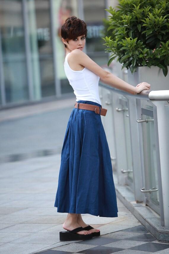 Fairy Linen Pleat Long Maxi Skirt in Navy blue- NC109