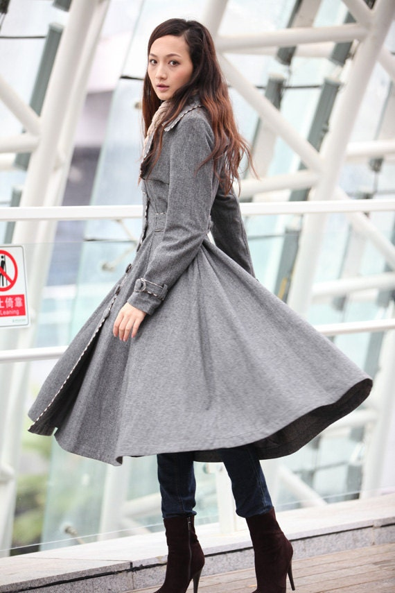 Dark Grey Coat Big Sweep Women Wool Winter Coat Long Jacket Tunic / Fast Shipping - NC222