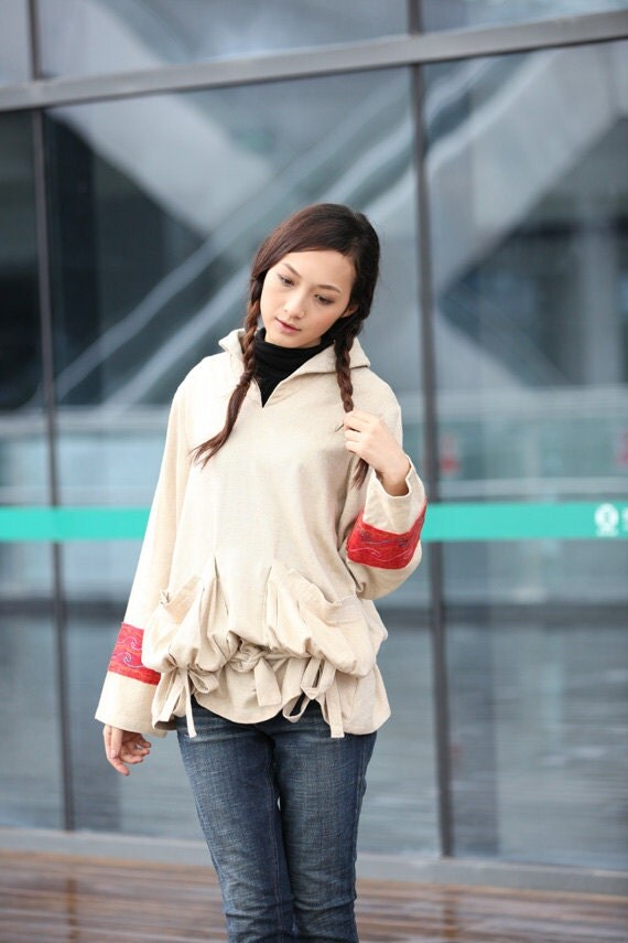 ON SALE 75% OFF Beige Chinese Ethnic New Design Embroidered  Cotton Linen Long Sleeve Coat- NC208