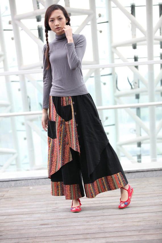 Black Indian Ethnic Linen Patchwork Wide Leg Pants skirt - NC234