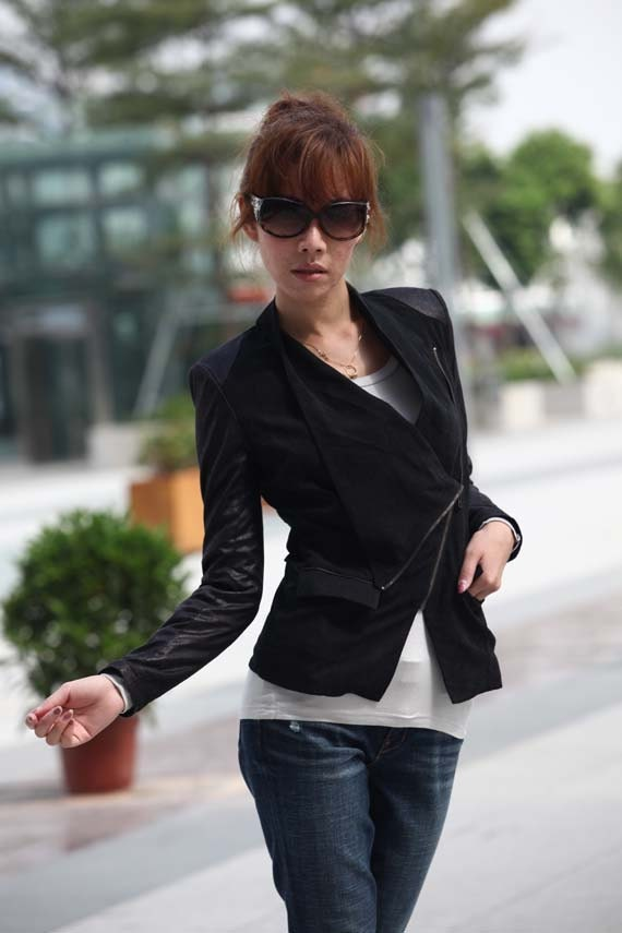 ON SALE Size xs Black Blazer Fitted Coat Faux Suede Jacket for Women- NC236-1