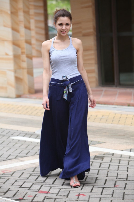 Wide Leg Pants in Navy Blue Boho Skirt Pants - NC043
