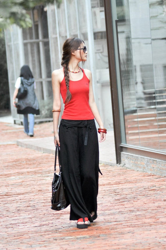 Graceful Casual Black Wide leg Long Linen Pants - NC004