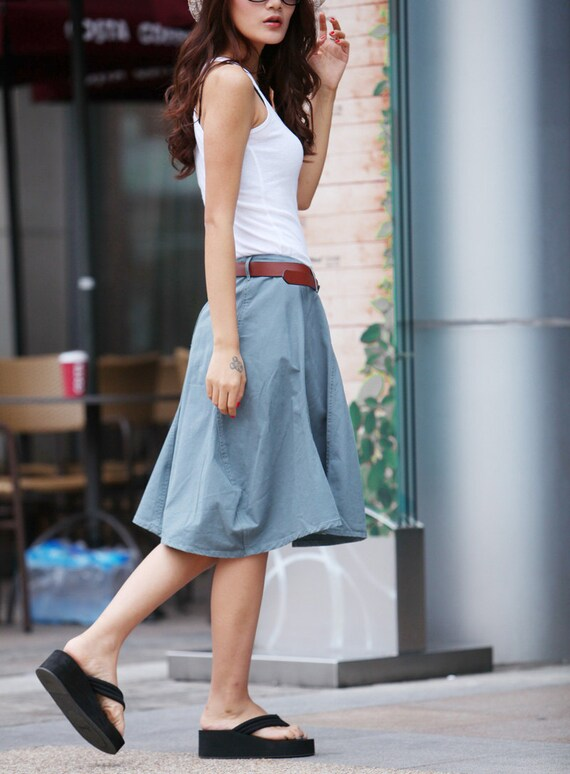 Unique Knee Length Skirt Bud Skirt For Summer in Grey Blue  - NC327