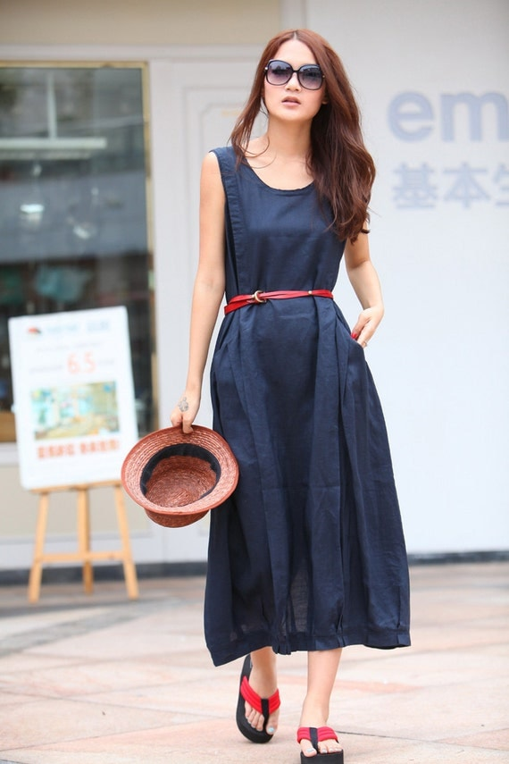 Maxi Dress Unique Loose fitting Long Vest Sundress Summer Dress in Deep Blue for Women  - NC306