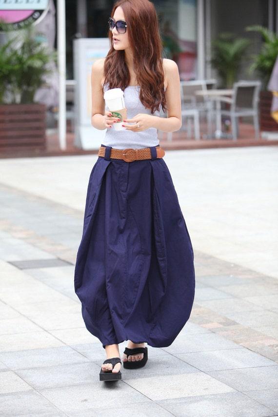 Romantic Navy Blue Pretty Linen Bud Long Maxi Skirt - NC023