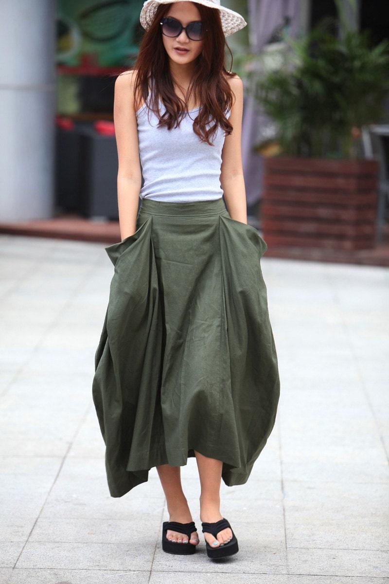 lagenlook maxi skirt big pockets big sweep by