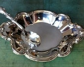 Vintage Silver Serving Dish Tray & Spoon, Scalloped Embossed Edge, International Silver Co Plated