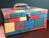 Vintage Hard Case Retro Patchwork Storage Box, Makeup Train Carry On, Art Supply Tote