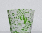 Retro Green & White Tropical Flower Pot, Summer Tiki Bar Ice Bucket Planter or Garden Display by Nagoya Japan RESERVED FOR KATHY