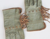 Vintage Kid Leather English Riding Gloves, Womens 1930s Western Fringe