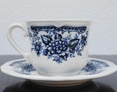 Vintage Ironstone Tea Cup & Saucer, Blue and White Carnation Flowers