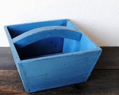 Vintage Blue Wood Crate, Rustic Box with Handle, Kitchen Farmhouse Storage Decor
