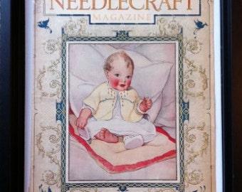 1927 Needlecraft Magazine Cover Art, Nouveau Baby Nursery Decor Print to Frame