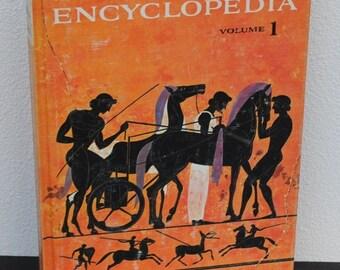 Vintage Textbook, 1961 High School Encyclopedia, Illustrated Egyptian Graphics Cover Art Decor, Golden Press