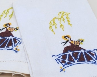 Antique Linen Tea Towel Set, Victorian Southern Belle, Vintage Hand Embroidery Needlepoint Decor Towels