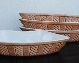 Vintage California Pottery Bowl Set,  Mid Century Decor Serving, White Tan Basket Weave Zigzag