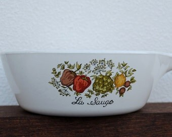 "Vintage Corning Ware Saucepan, 1970s ""La Sauge"" Spice of Life Vegetables & Herbs"