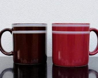 Vintage JMP Mug Cups, His and Hers Stripe Stoneware Pink & Brown Coffee Set