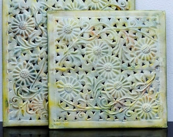Vintage Metal Art Wall Decor, Enameled Yellow Daisy Industrial Square Vents